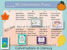 RtI Intervention Lesson Plans:  RtI reading activities and resources to use during RtI intervention group times