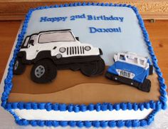 Jeep Birthday Cake with 2D Fondant Cut outs