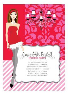 Pink + Red Brocade Girl Invitation