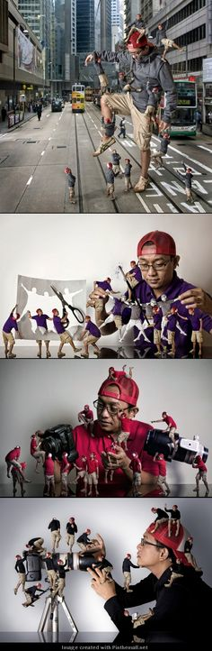 Creative photo manipulation by the Indonesian photographer Ari Mahardhika. Each little guy seems to represent a small aspect of the creative process and combined together feels like a snapshot of a moment inside the artist's frantic brain Photoshop Photography, Creative Photography, Digital Photography, Photography Tutorials, Portrait Photography, Photomontage, Photo Retouching, Photo Editing, Tableaux Vivants