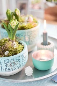 Frühlingshafte Tischdekoration Spring Frühling Tablett Tablesetting  Dekorieren Februar Türkis Winter Naturdeko