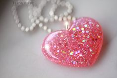 Pretty Pink Heart Necklace for Her, pink glitter modern heart shape, handcrafted resin jewelry - gift idea for women girl sister - isewcute
