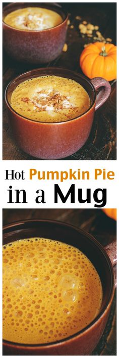 Hot Pumpkin Pie in a Mug - Cozy delicious pumpkin pie in your favorite mug. Topped with coconut whipped cream, it's sure to keep you warm and all pumpkin pie sweet this season. NeuroticMommy.com #vegan #pumpkinpie