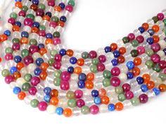 "3 Strands Natural Multi Gemstone 7-8mm Smooth Rondelle Drilled Beads,Crystal,Moonstone,Aventurine,Carneline,Ruby,11-12"" Long by UGCHONGKONG on Etsy"