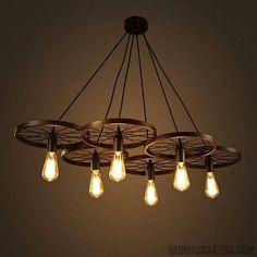 Edison Chandelier, Wheel Chandelier, Hanging Chandelier, Pendant Lighting, Pendant Lamp, Round Pendant, Rustic Light Fixtures, Rustic Lighting, Industrial Lighting