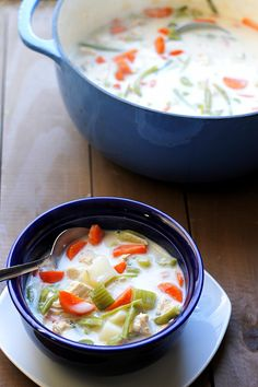 Skinny Chicken Pot Pie Soup via @Alaina {Fabtastic Eats}