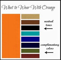 A nice guide. My New Favorite Outfit: What to Wear With Orange Orange Outfits, Orange Clothes, Color Pairing, Color Combos, Color Combinations Outfits, Super Moda, Fashion Mode, Fashion Tips, Estilo Hippy
