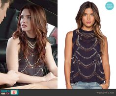 Karma's beaded top on Faking It. Outfit Details: http://wornontv.net/51891/ #FakingIt