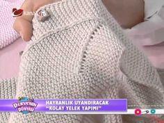 Çocuklar için bebek yeleği yapımı - Anlatımlı Video - YouTube Baby Booties Knitting Pattern, Baby Knitting, Knitting Videos, Knitting Stitches, Knitted Baby Blankets, Knitted Hats, Crochet For Kids, Crochet Baby, Toddler Cardigan