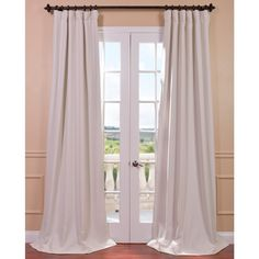Exclusive Fabrics Cottage White Bellino Single Panel Blackout Curtain (50W x 96L), Beige Off-White, Size 50 x 96 (Polyester, Solid)