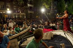Every year, in August, is the Prinsengrachtconcert. A free outdoor classic concert in the middle of one of the canals in Amsterdam.