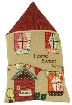 Stylish home sweet home house shaped cushion with patchwork design doors and windows size 26 x 44cm .