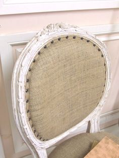 Antique shabby chic dining chairs with burlap upholstering - love!