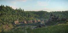 Kingdom Come Deliverance, Eastern Europe, Castle, Environment, River, Fantasy, Mountains, Painting, Outdoor