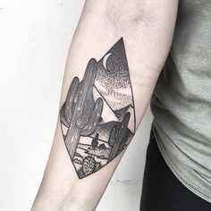 Black dot-work desert landscape in the rhombus inked on the right inner arm - Modern Time Tattoos, Body Art Tattoos, New Tattoos, Tribal Tattoos, Cool Tattoos, Tatoos, Piercings, Wüsten Tattoo, Desert Tattoo