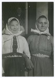 Slovak girls. From a photograph by Lewis W. Hine.