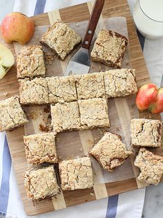 Apple Blondies with Cinnamon Almond Streusel. A yummy twist on apple crumb bars and snickerdoodle blondies. The two come together for this delicious fall dessert.