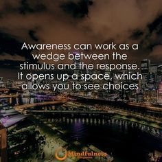 Awareness can work as a wedge between the stimulus and the response. It opens up a space which allows you to see choices.