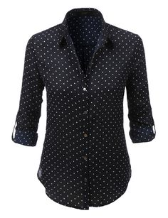 LE3NO Womens Loose Chiffon Polka Dot Button Down Blouse Top