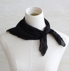 Sheer chiffon square scarf 20 x 20 50's by blackbeanblackbean, $5.00