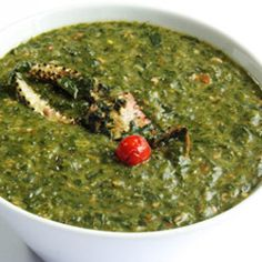 Callaloo Soup-can be made with or without meat. I like it with coconut milk, shrimp and dumplings. YUM!