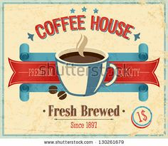 Vintage Coffee House card. Vector illustration. by avian, via ShutterStock