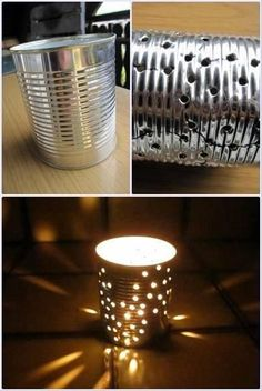 Better than just a plain candle light,  I have done this with a nail and a hammer :) It does turn out this pretty ---Fill the can with water first, Let it freeze and You can nail through it without bending the can! After let the water melt out. :) enjoy.