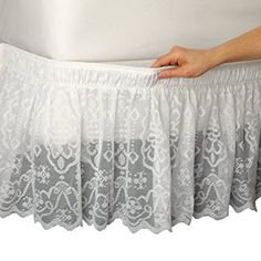 Amazon Com Lace Trimmed Bed Wrap Ruffle Bed Skirt Ivory Twin