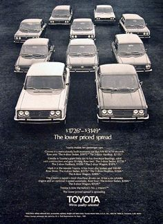1970 Toyota Model Line original vintage advertisement. Features 10 passenger cars priced from $1,726 to $3,149. Includes the Corona, Corolla, Crown and Mark II Sedans.