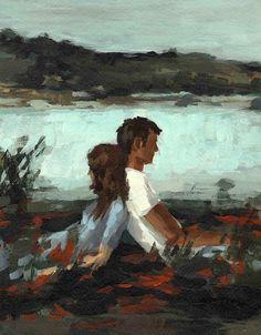 Clara Elsaesser FALLING large wall art print of couple in love painting // tastesorangey on Etsy Art Sketches, Art Drawings, Art Amour, Art Couple, Large Art Prints, Extra Large Wall Art, Love Painting, Aesthetic Art, Love Art