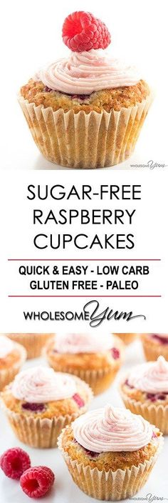 Sugar-free Cupcakes Recipe with Raspberry Frosting (Low Carb, Paleo) - 	 SUGAR-FREE CUPCAKES RECIPE WITH RASPBERRY FROSTING (LOW CARB, PALEO) These sugar-free cupcakes are bursting with juicy raspberries and topped with natural raspberry buttercream frosting. Low carb, gluten-free, paleo friendly, and THM S.