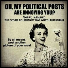 """""""Oh my political posts are annoying you? Sorry, I assumed the future of humanity was worth discussing. By all means, post another photo of your meal."""""""