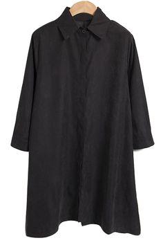 Shirt Collar Solid Color Dress BLACK: Casual Dresses   ZAFUL