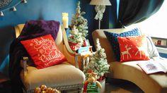 Winter wonderland - flocked mini trees in rustic traditional living room