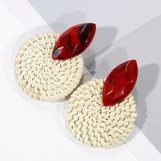 Multiple Handmade Bamboo Braid Pendent Drop Earrings New Fashion Rattan Vine Knit Long Earrings For Women Girl Dainty Earrings, Wood Earrings, Women's Earrings, Earrings Handmade, Statement Earrings, Trendy Jewelry, Women Jewelry, New Fashion Earrings, Multiple Earrings