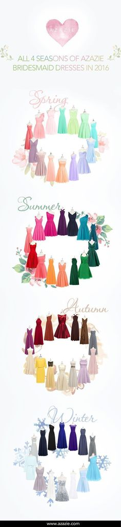 Several colors of bridesmaids dresses and gowns for your bridesmaid to wear as a wedding attendant and beyond. They are budget friendly for weddings, too! Bridesmaid gowns for each season of the year - fall/autumn, winter, spring and summer. #budgetwedding