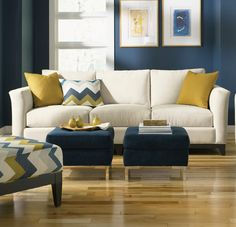 Modern Decor Design, Pictures, Remodel, Decor and Ideas - page 7 (bedroom colors) Mustard Living Rooms, Cream Living Rooms, New Living Room, Living Room Sofa, Cream Sofa Living Room Color Schemes, Cozy Living, Small Living, Living Room Decor Blue, Modern Living Room Colors