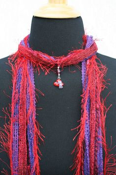 Red Hat Society Red Purple Fringe Scarf Necklace,Red Hat Charm