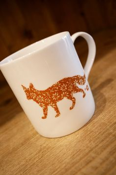 Mug with english fox design. This is an awesome etsy store