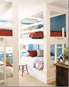 Not so much for the red, white, and blue theme as I am the bunk bed look!