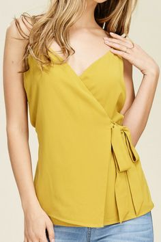 bde17102753ffc Pink Slate Boutique - Take a Bow Wrap Top (Golden Yellow), $36.00 (