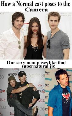 58 Ideas Funny Supernatural Interview Fandoms For 2020 Supernatural Interview, Supernatural Actors, Supernatural Destiel, Funny Memes, Hilarious, Cult, Funny Pictures With Captions, Funny Couples, Film Serie
