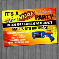 Wonderful Nerf Gun Birthday Party Invitations DIY Boy Invitation Self Print  Ideas