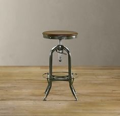 vintage industrial stool for our bar. with cushion