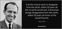 "Discover Jonas Salk famous and rare quotes. Share Jonas Salk quotes about process, evolution, wells. ""If all the insects were to disappear from..."""