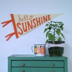 Are you interested in our Hello sunshine Pennant Flag? With our Vintage children banner wall decor you need look no further.