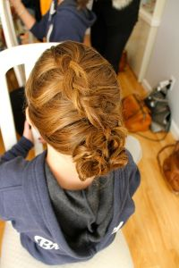 french braid, styled up-do for a junior bridesmaid