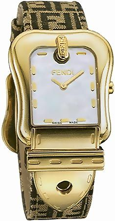 Fendi Women Watches   3820F Gold Plated Case on FF Strap Mother-of-Pearl 35215576ab