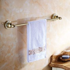103.50$  Buy here - http://ali5nn.worldwells.pw/go.php?t=32792454102 - luxury bathroom Single Towel Bar,Towel Holder, Towel rack Solid Brass & Crystal Made,Antique Finish, Bathroom Accessories 6201 103.50$