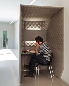 The BuzziBooth from BuzziSpace is a felty 'phone box' constructed with sound-insulating felt that reduces outside sounds. Now you can have a moment of peace even in the noisiest of surroundings.